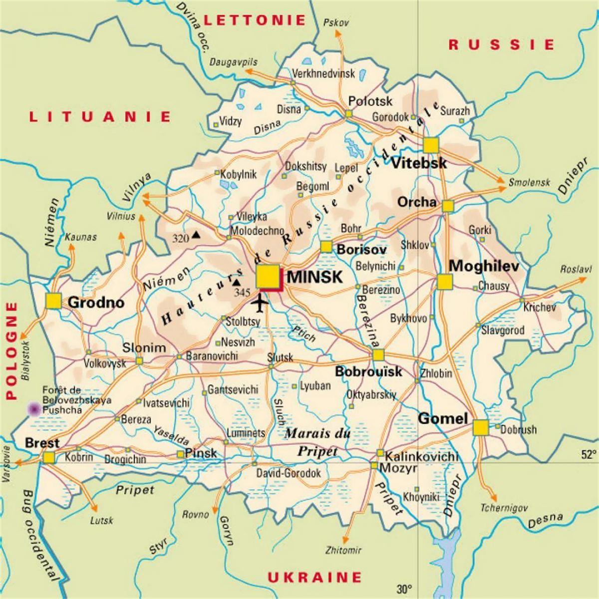 Bjelorusiji Gradova Mapu Mapa Bjelorusiji Gradova Istocne
